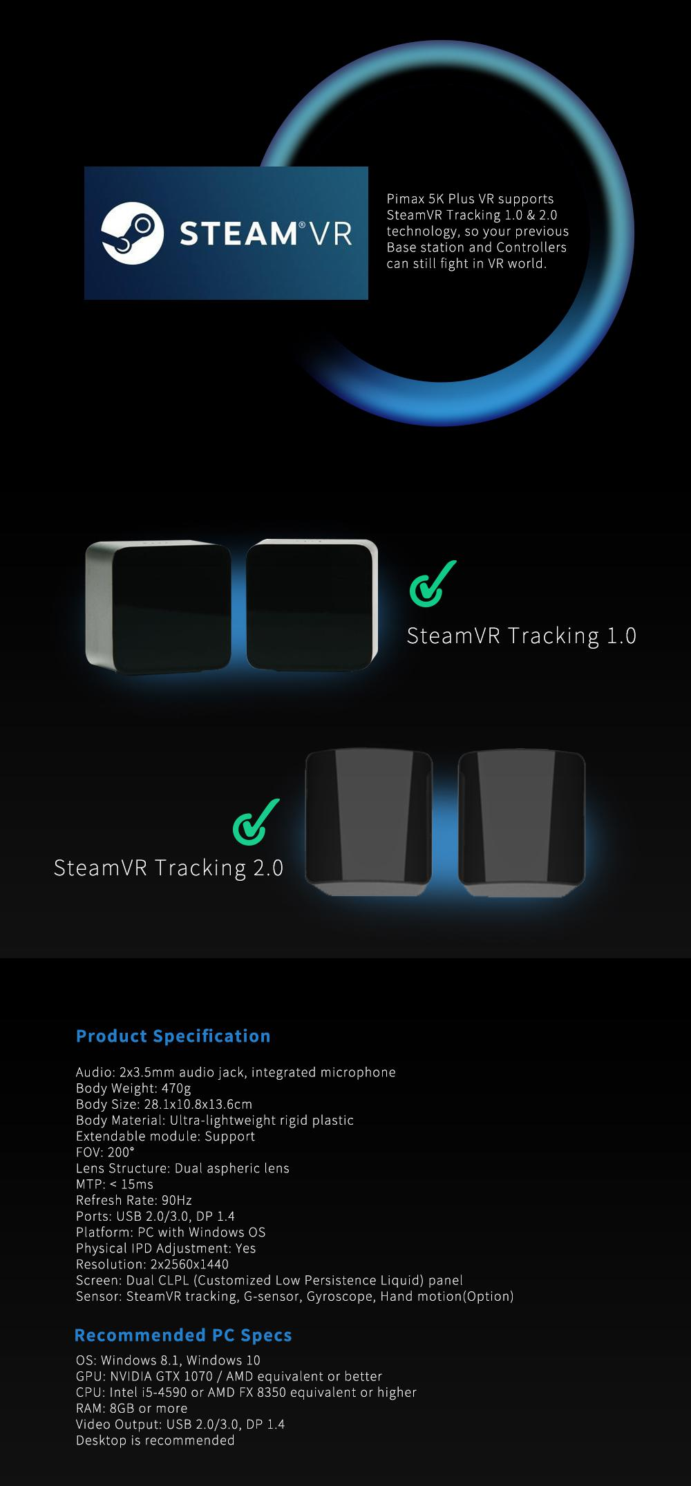 PIMAX 5K Plus Virtual Reality Headset VR Headset 3D VR Glasses for PC VR  Game Video