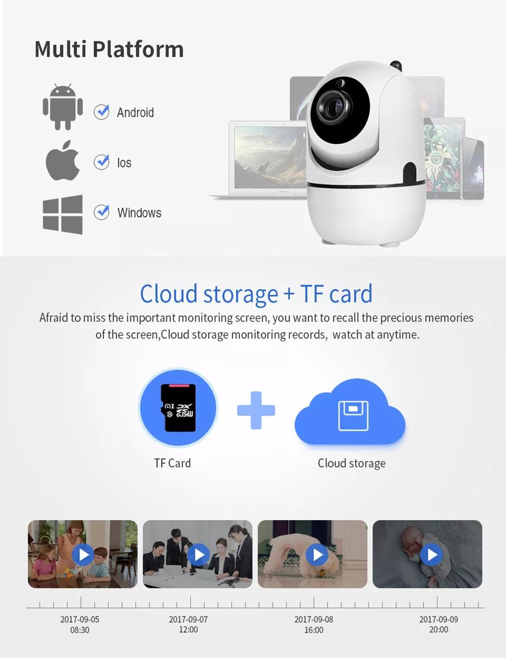 HD 1080P 720P Cloud Wireless IP Camera Intelligent Auto Tracking Home  Security CCTV Network Wifi