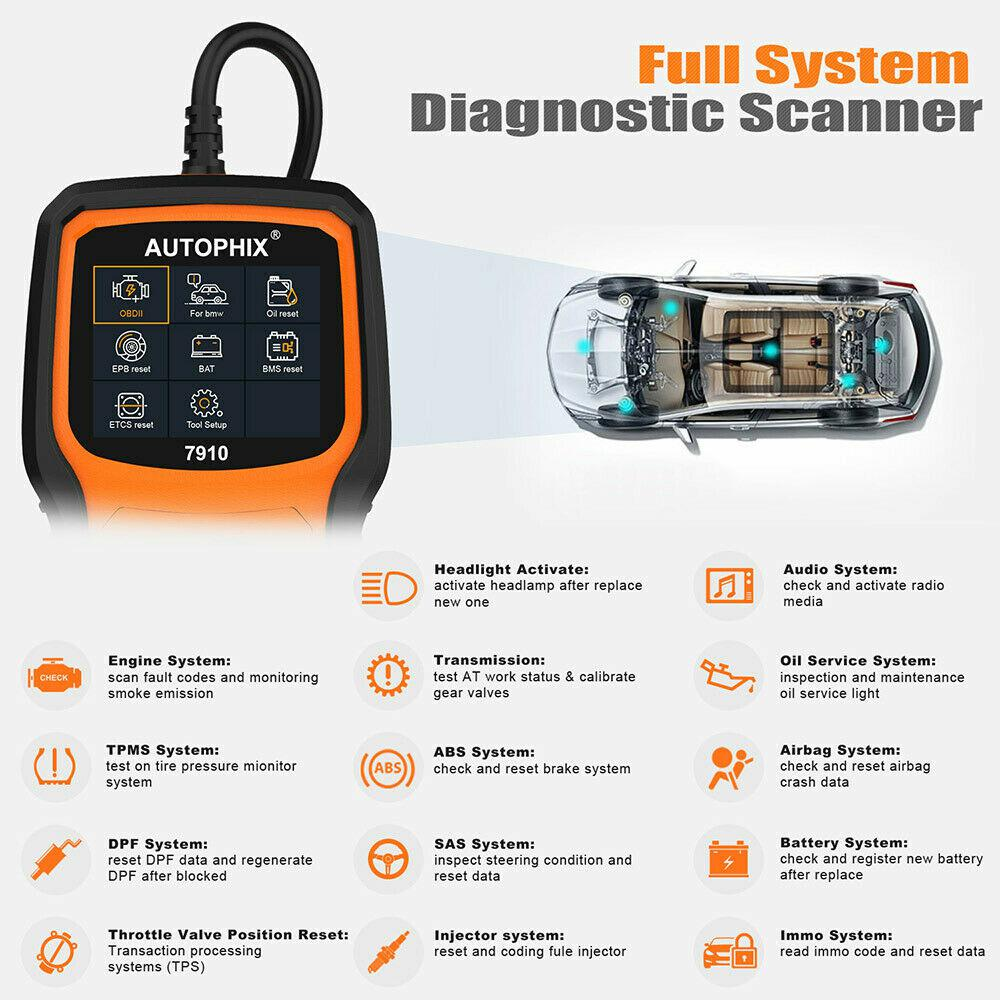 Autophix 7910 OBD2 Auto Scanner ABS SAS SRS EPB Oil Reset Car Diagnostic For BMW
