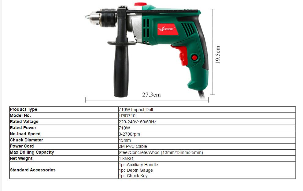 Single Speed Impact Drill 600W complete with Carry Case Auxiliary Handle and Depth Stop 240V