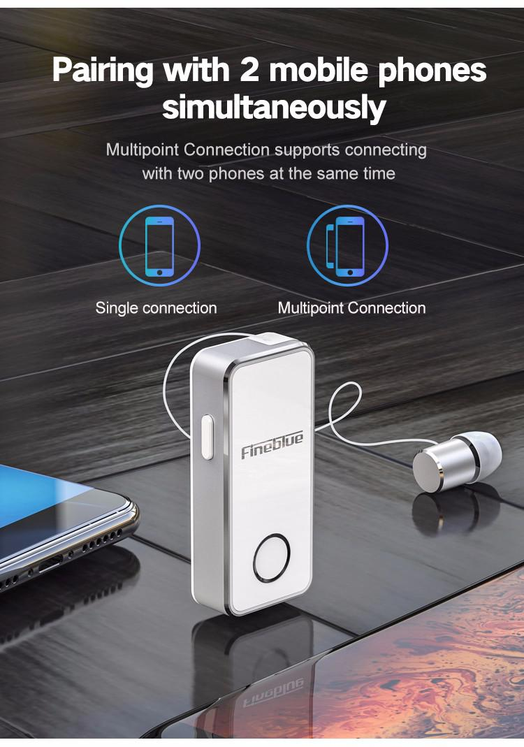 Astrosoar - Bluetooth Earphone-FineBlue F2 Wireless Music Headset Vibrating Alert Wear Clip Earphone for Smartphone