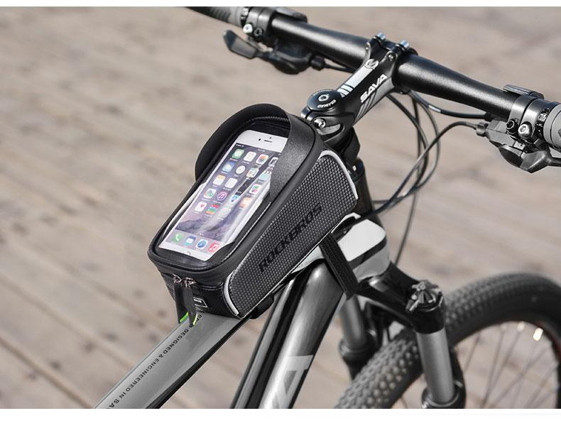 ROCKBROS Waterproof Cycling Bicycle Touch Screen Bike Front Tube Bag Frame Bag