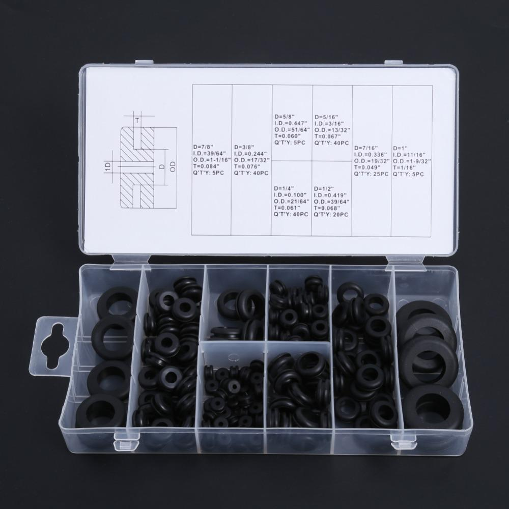 180 Piece Rubber Grommet Assortment Kit Wiring Harness Firewall Radio Electrical