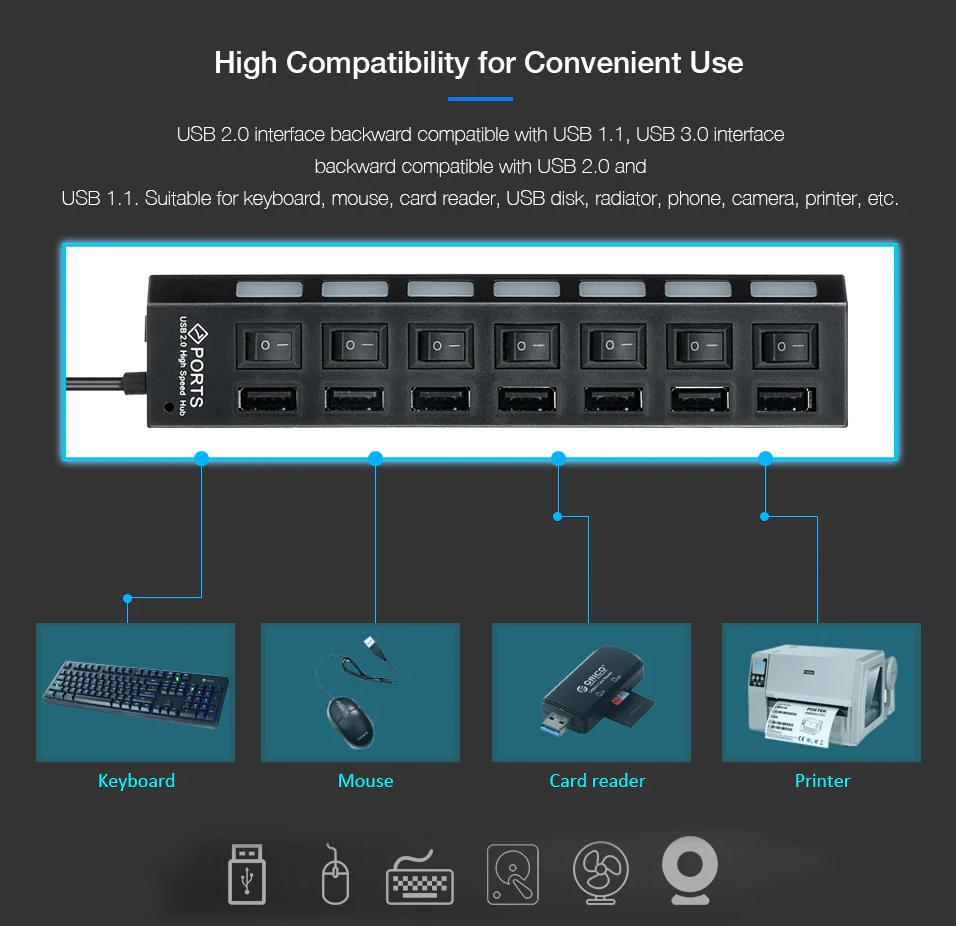 Line 1.2 Meters Unique Color : Black Jinfengtongxun Hub 2.0 High Speed One for Four Interfaces USB Splitter