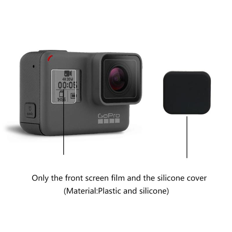 Silicone Body Case Skin Glass Screen Protector Film For GoPro Hero 8 Black