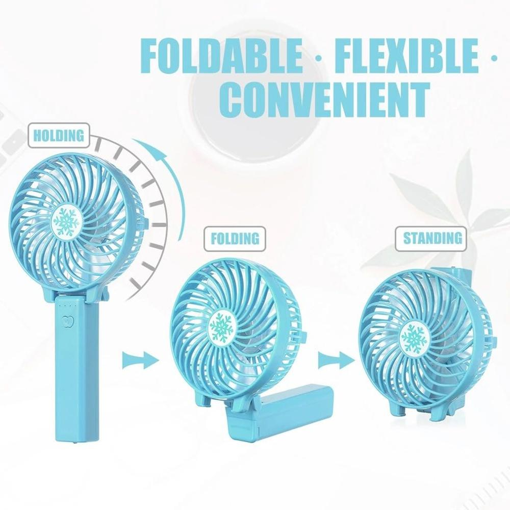 Air Cooler Handheld Personal Fan Portable Travel Delicate Cute Mini ABS Summer Fan Triangular Support Pure Color Color : Blue