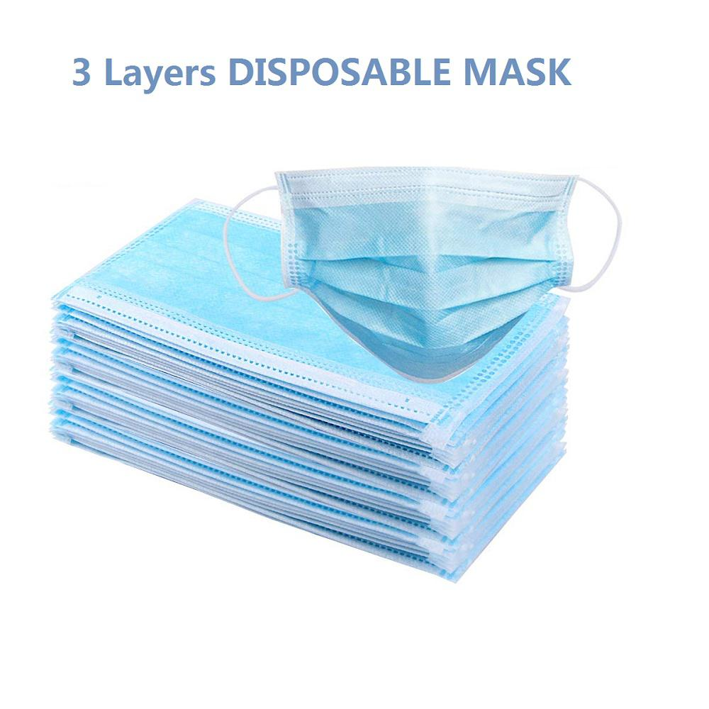 Disposable Face No Breathing Valve FDA certific Thick 3Ply 50 Pieces dust Protection