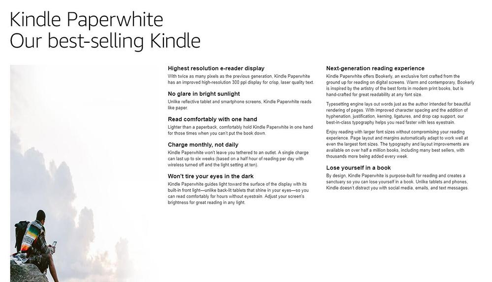 Kindle Paperwhite 3 7Th Generation 4GB WiFi 300 PPI