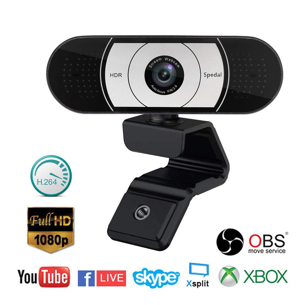 Spedal 1080P HD Pro Stream Webcam with Privacy Shutter Auto Focus Streaming Camera Computer Laptop Camera for OBS Xbox XSplit Skype Facebook Compatible for Linux Mac OS Windows 10//8//7