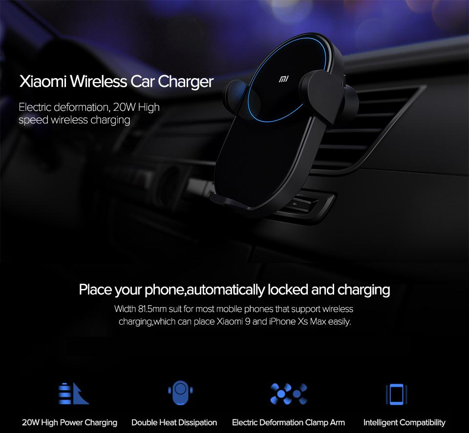 Xiaomi Wireless Car Charger 20W Max Electric Auto Pinch Qi Quick Charging Mi Wireless Car Charger