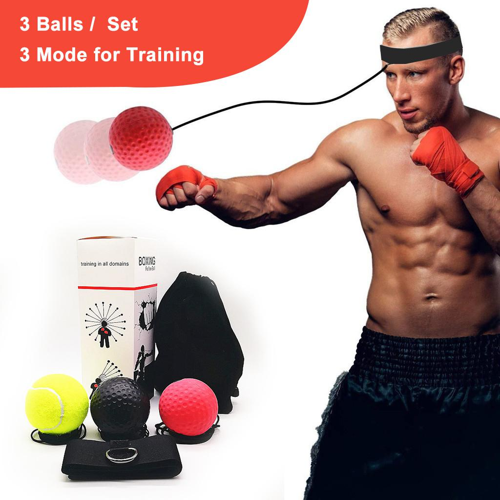 Gym Boxing Fight Ball with Head Band Reaction Speed Boxer Training Punch NEW UK