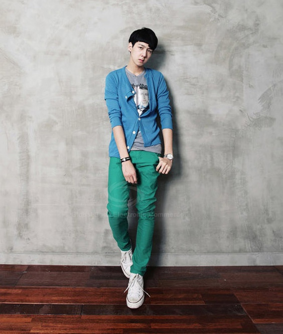 Stylish Twelve Candy Color Skinny Polyester Men's Pants