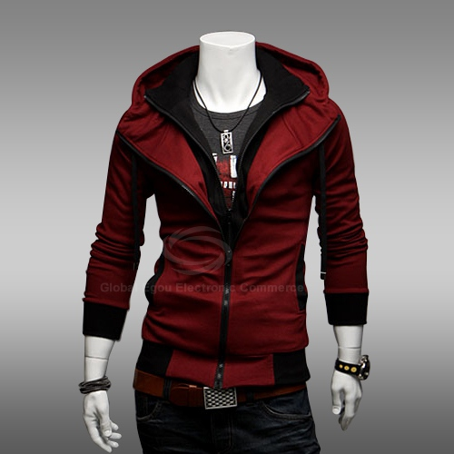 Casual Faux Twinset Polyester Men's Hooded Spring Sweatshirt