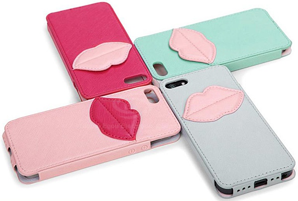 Fashion 8thdays Monroe's Kiss Durable PU Leather Vertical Case with Card Slots for iPhone 5
