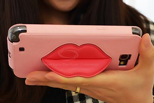 Fashion 8thdays Monroe's Kiss Durable PU Leather Vertical Case with Stand for Samsung Galaxy Note 2 N7100 - Pink