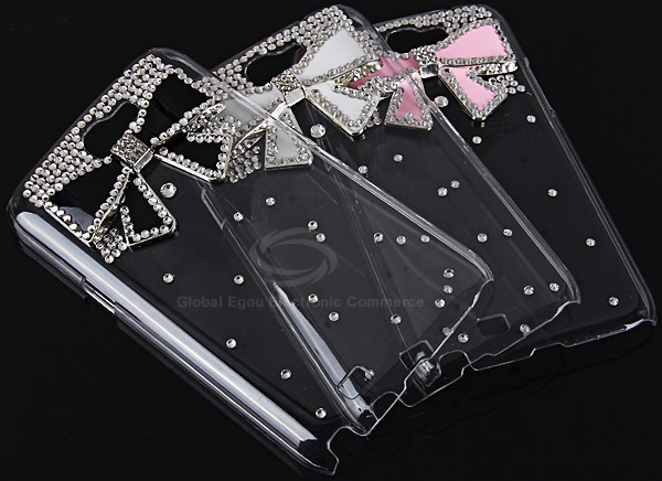 Unique 3D Pink Bowknot Pattern Diamonds Plastic Clear Case for Samsung Galaxy Note 2 N7100