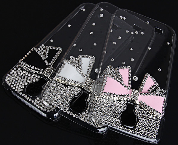 Unique 3D Pink Bowknot Pattern Diamonds Plastic Clear Case for Samsung Galaxy S4 i9500 / i9505
