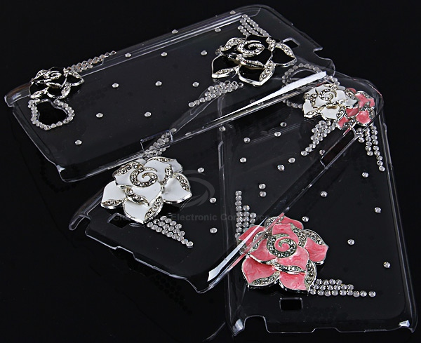 Unique 3D Black Hawthorn Flower Pattern Diamonds Plastic Clear Case for Samsung Galaxy Note 2 N7100