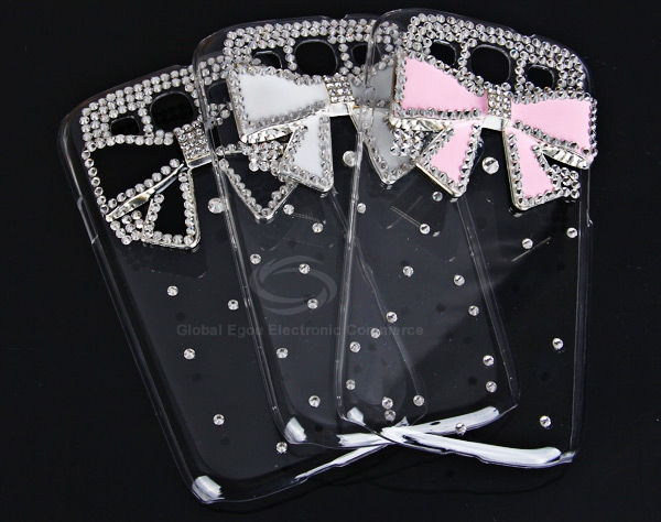 Unique 3D Black Bowknot Pattern Diamonds Plastic Clear Case for Samsung Galaxy S3 i9300