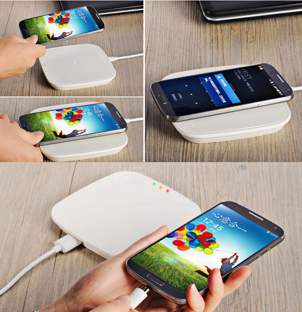 Metrans W5000 5000mAh Power Bank and Wireless Charger Qi Charging Pad for Samsung Galaxy S4 i9500 / i9505 with Receiver - White