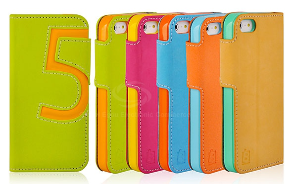 Baseus Fashion Number Five PU Leather and TPU Flip Wallet Stand Case for iPhone 5