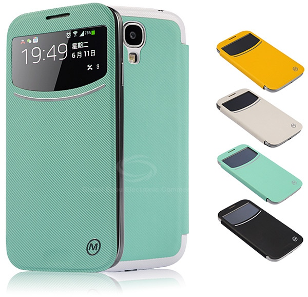 Metrans RS4 Cool Call ID View PU Leather and PC Wireless Receiver Cover Case for Samsung Galaxy S4 i9500 / i9505 - Cyan