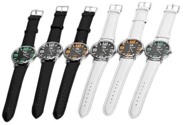 Quartz Watch 4 Numbers and Strips Hour Marks Leather Watchband for Unisex