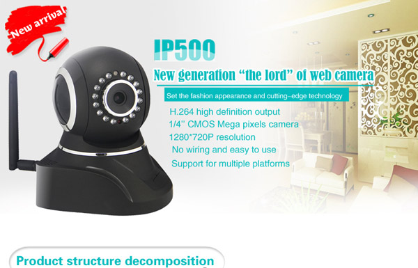 IP500 1/4 inch Chip of CMOS Sensor 6mm 16 IR LEDs Wireless IP Camera Cam with Night Vision Function - Black