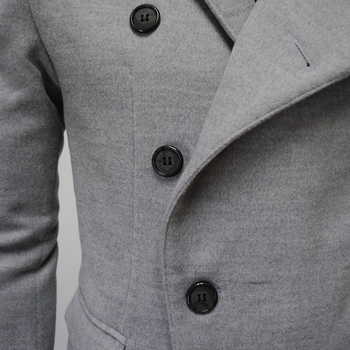 Fashion Style Chic Turndown Collar Side Single-Breasted Long Sleeves Woolen Coat For Men