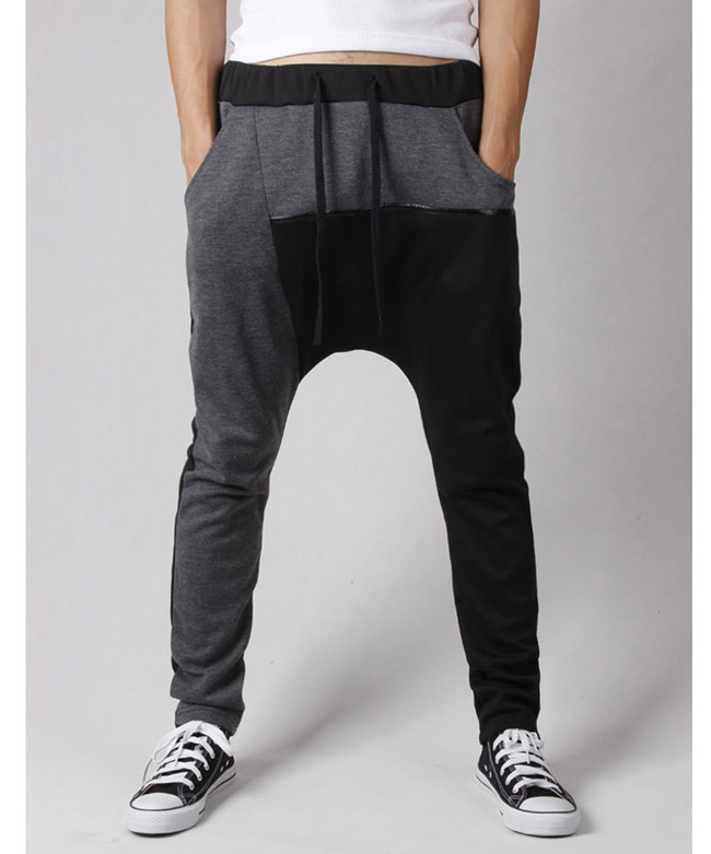 Casual Active Lace-Up Color Block Splicing Polyester Men's Harem Pants