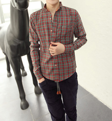 Casual Shirt Collar Ethnic Checked Design Long Sleeves Cotton Blend Shirt For Men