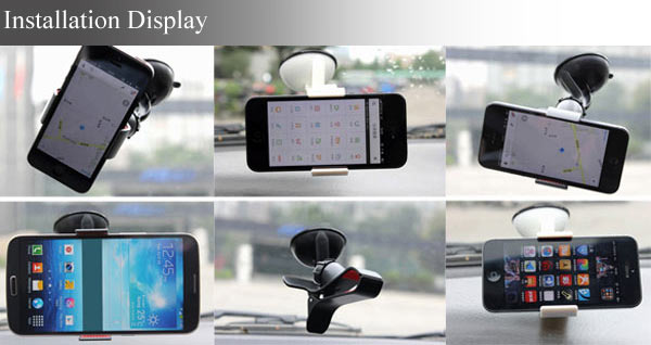 360 Degree Rotating Car Windscreen Mount Desktop Cell Phone Holder Cradle Stand Bracket for Smart Phones with Sucking Cup (Black)