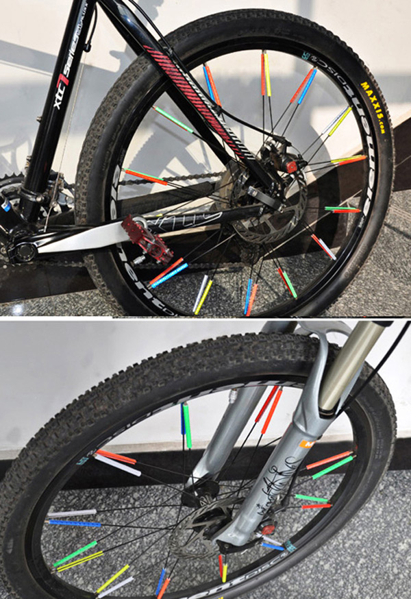 36 PCS Bicycle Wheel Reflective Spokes Stickers Rim Steel Wire Safe Accessories (Red)