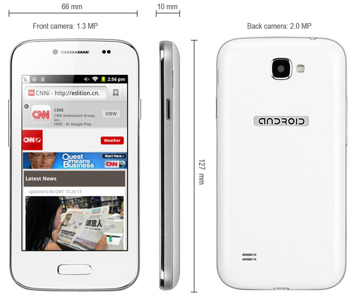 B9500 - 2 4 0 inch Android 4 2 Smartphone SP8810 1 0GHz WVGA Screen Dual  Cameras Bluetooth