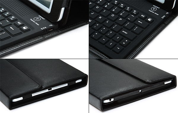 PU Leather Protective Stand Case with Micro USB Bluetooth Silicone Keyboard for iPad Air ( iPad 5 )
