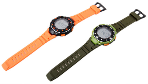 Waterproof Rubber Band Watches with Green LED Display Numbers Round Shaped