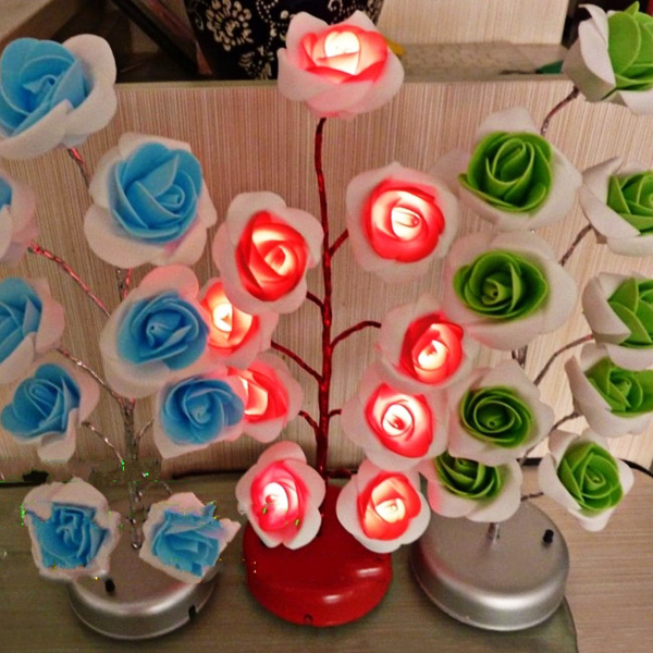 Fantastic Colorful Blooming Rose Lamp 9LED Tree-shaped LED Light Christmas Gift 3 x AA / USB