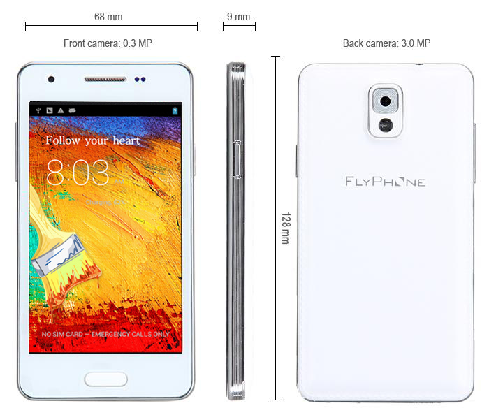 MINI Note3 4 3 inch Android 4 2 3G Smartphone MTK6572 Dual Core 1 3GHz 4GB  ROM WVGA Screen Dual Cameras GPS