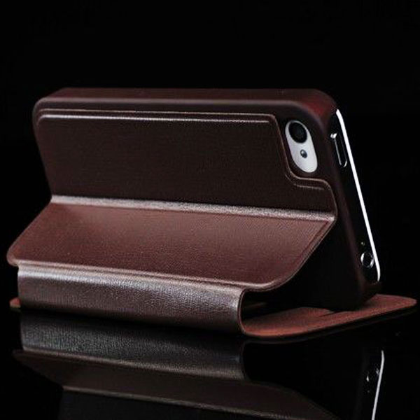 Cobbler Lichee Pattern Window View Soft Sheepskin + Plastic Case with Stand for iPhone 4 / 4S