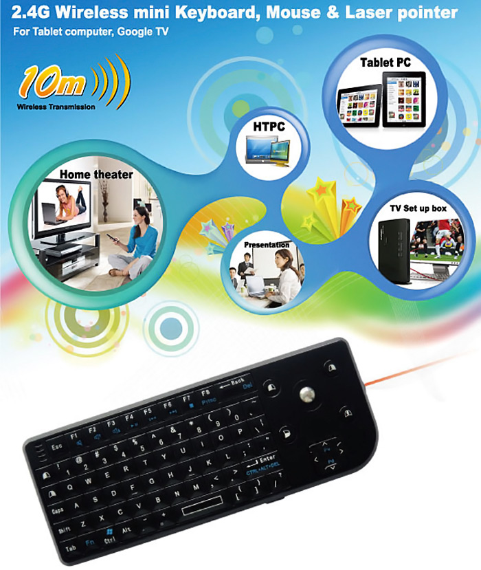 M8 Three In One 2.4G Wireless Trackin Ball Mouse + Keyboard + Laser Pointer-