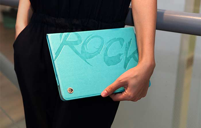 Rock Image Series Letter Pattern PU Leather T Stand Case with Dormancy Function for iPad 5 ( iPad Air )