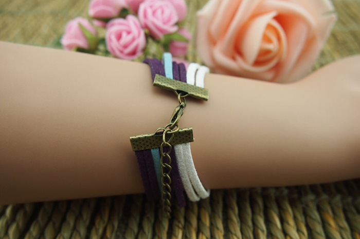 Retro Scissors Infinity Love Multilayered Charm Bracelet - as the picture