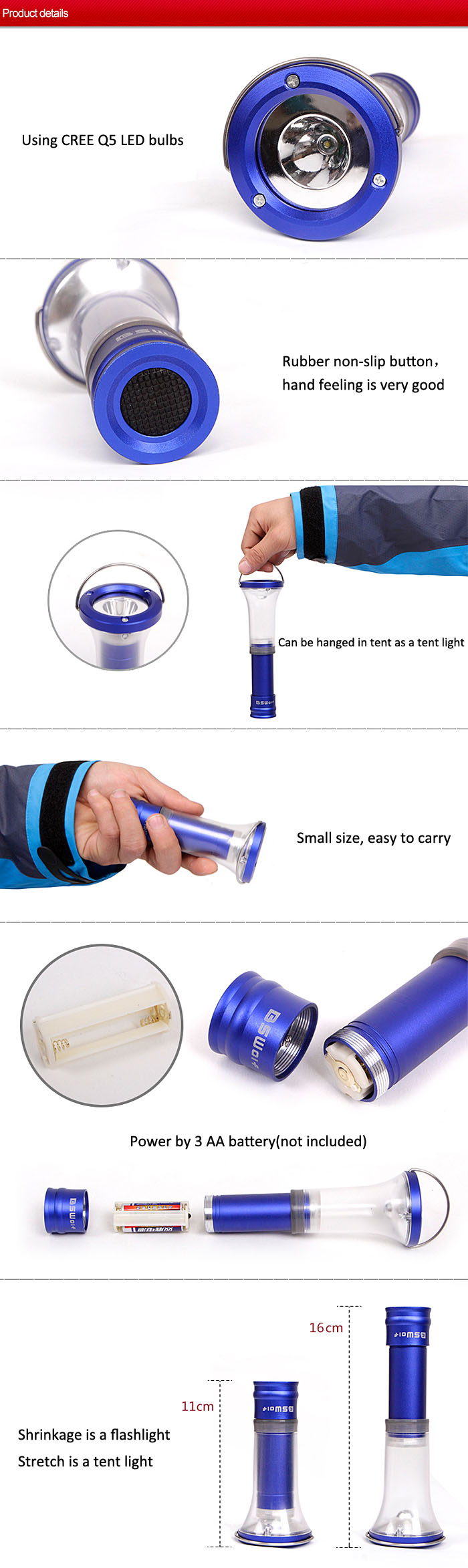 Two in One Camping Lamp Glare Flashlight Outdoor Camping Emergency Lights