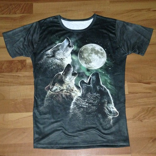 206c8da7c8 Stylish Round Neck 3D Wolf Print Short Sleeves Polyester T-shirt For ...