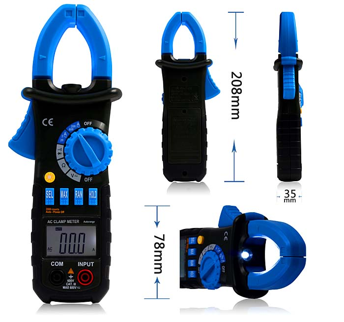 Bside ACM01 Auto Range Digital Non-contact AC//DC Current Tester Clamp Meter