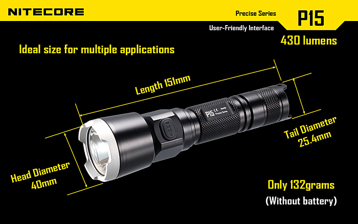 Low Power Consumption Nitecore P15 Cree XP-G2 430 Lumens 5 Modes Flashlight