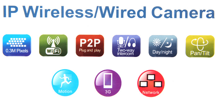 RP203 0.3 Million Pixels IP Wireless/Wired Camera (P2P) with 10 IR LED Lights