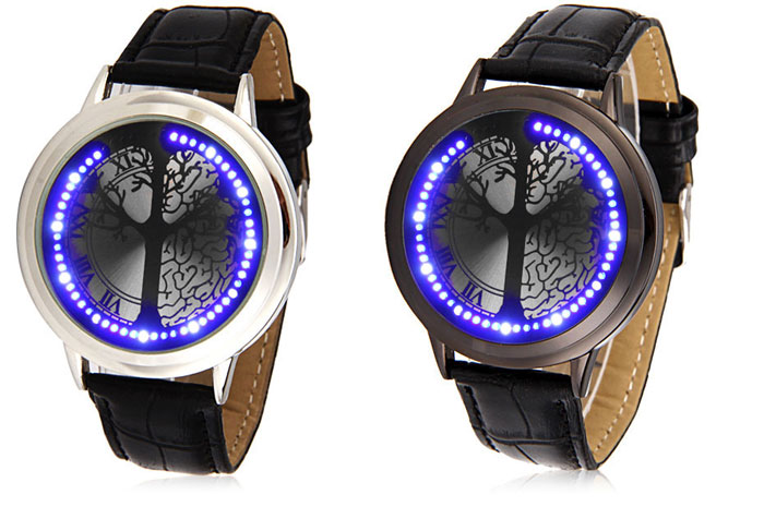 Fashion Touch Screen LED Watch with Tree Pattern Analog Indicate and Leather Watchband