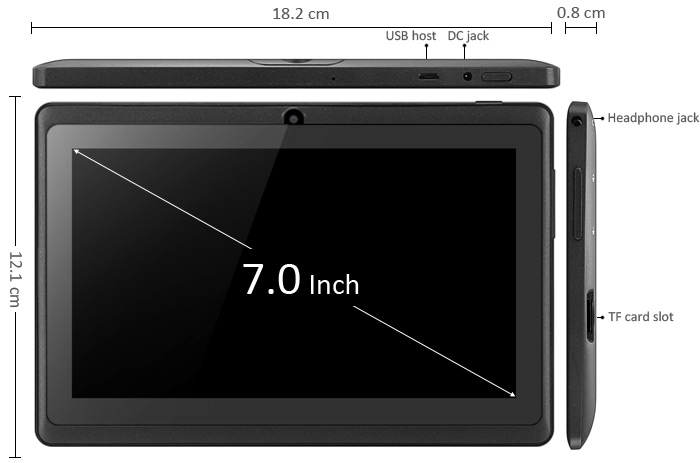 7 inch Q8 Android 4.4 Tablet PC A33 Quad Core 1.5GHz WVGA Screen Dual Cameras WiFi 8GB ROM