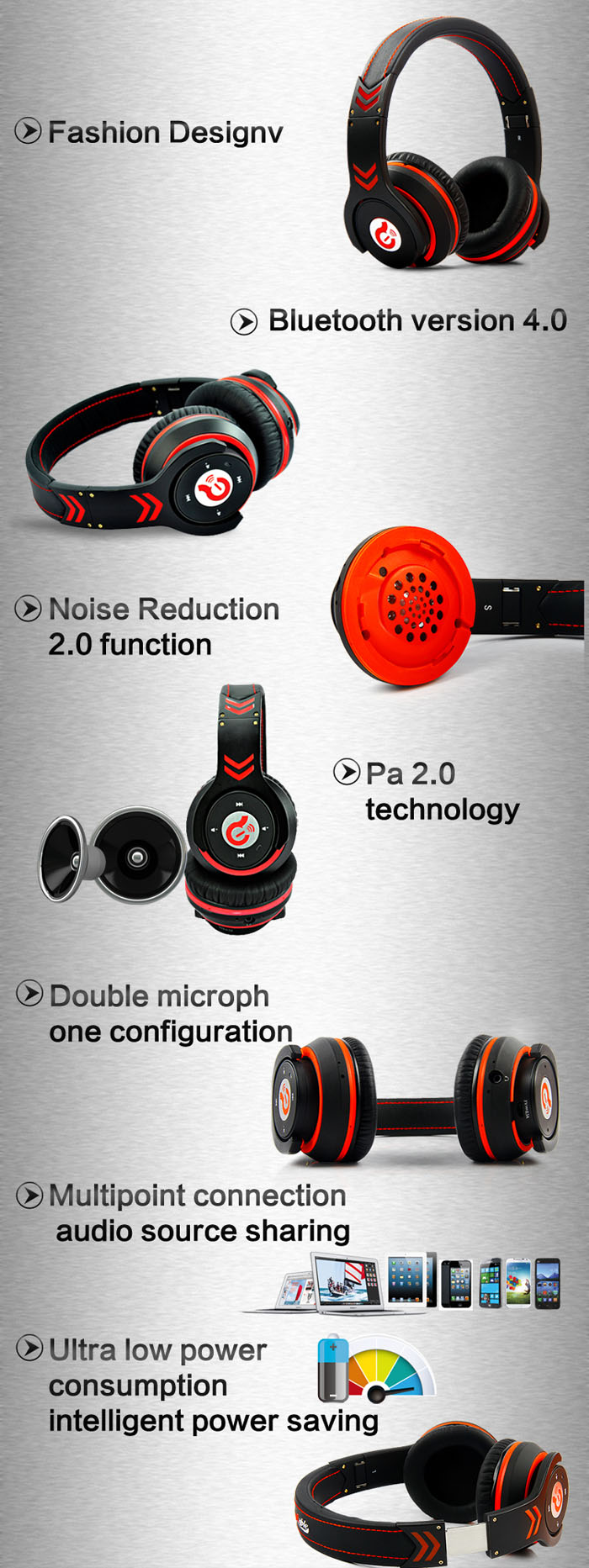 Syllable G18 Deluxe Fashion Wireless Bluetooth 4.0 Multi-point connection Supported Hi-Fi Stereo Headphone Headset